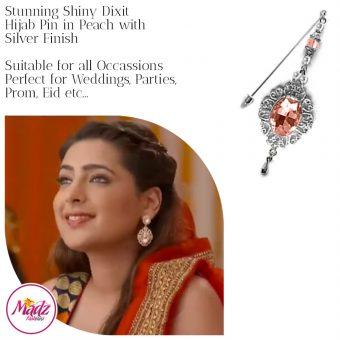 Madz Fashionz USA: Shiny Dixit Chandelier Hijab Pin Stick Pin Hijab Jewels Zee Tv ZKM Silver Peach