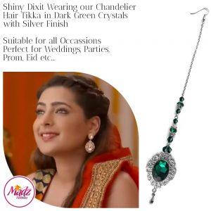 Madz Fashionz USA: Shiny Dixit Chandelier Maang Tikka Hair Tikka Zee Tv ZKM Silver Dark Green