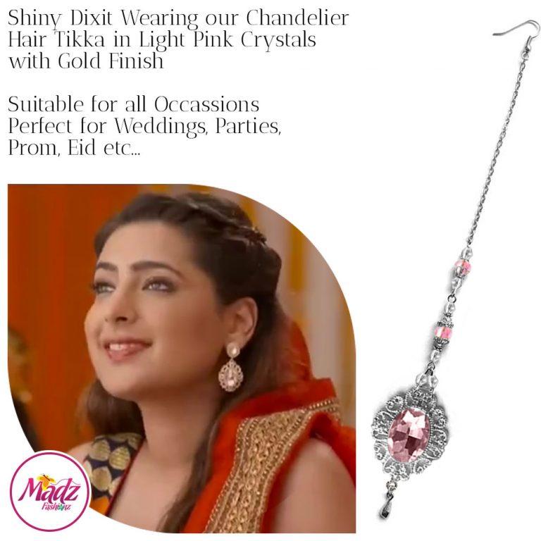 Madz Fashionz USA: Shiny Dixit Chandelier Maang Tikka Hair Tikka Zee Tv ZKM Silver Light Pink