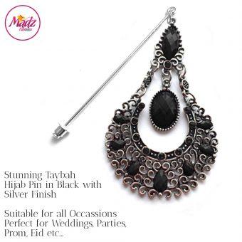 Madz Fashionz USA: Taybah Hijab Pin Hijab Jewels Stick Pins Silver Black