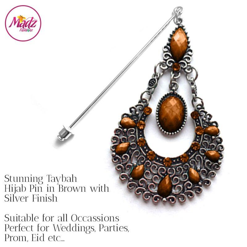 Madz Fashionz USA: Taybah Hijab Pin Hijab Jewels Stick Pins Silver Brown