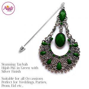 Madz Fashionz USA: Taybah Hijab Pin Hijab Jewels Stick Pins Silver Dark Green