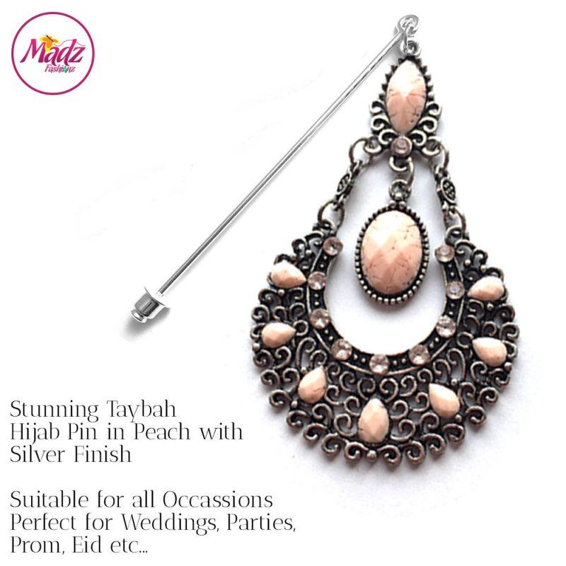 Madz Fashionz USA: Taybah Hijab Pin Hijab Jewels Stick Pins Silver Peach