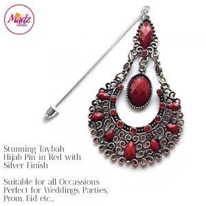 Madz Fashionz USA: Taybah Hijab Pin Hijab Jewels Stick Pins Silver Red