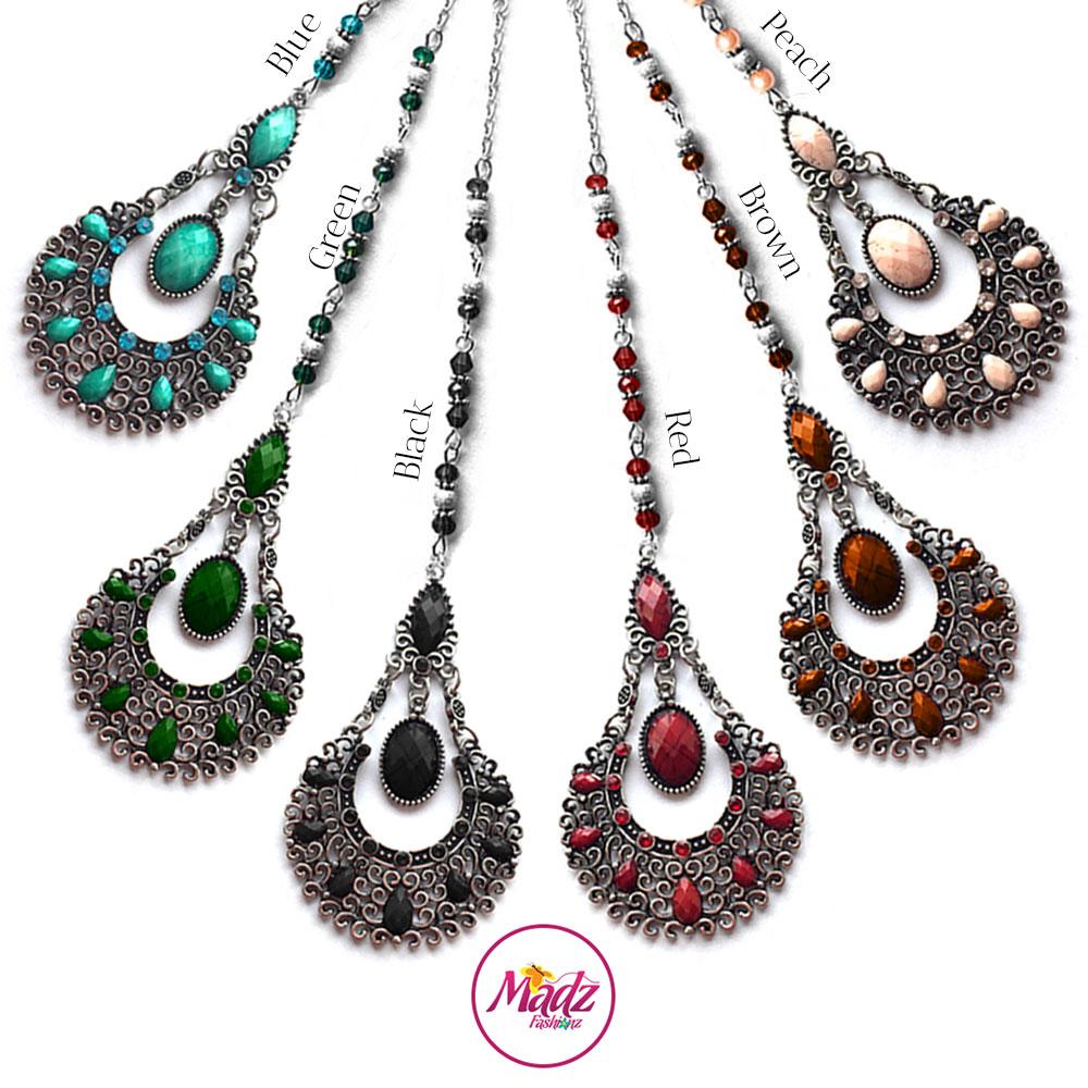 Madz Fashionz USA: Taybah Hair Tikka Maang Tikka Matha Patti Silver Blue Black Green Red Peach Brown