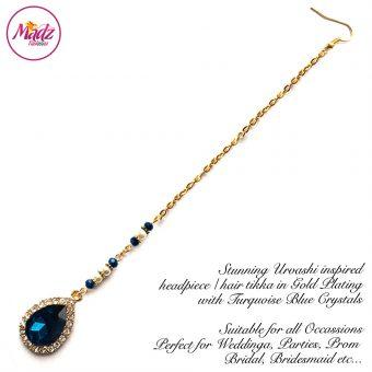 Madz Fashionz USA: Urvashi Rautela Kundan Crystal Stones Gold Maang Tikka Hair Tikka Gold Turquoise Blue