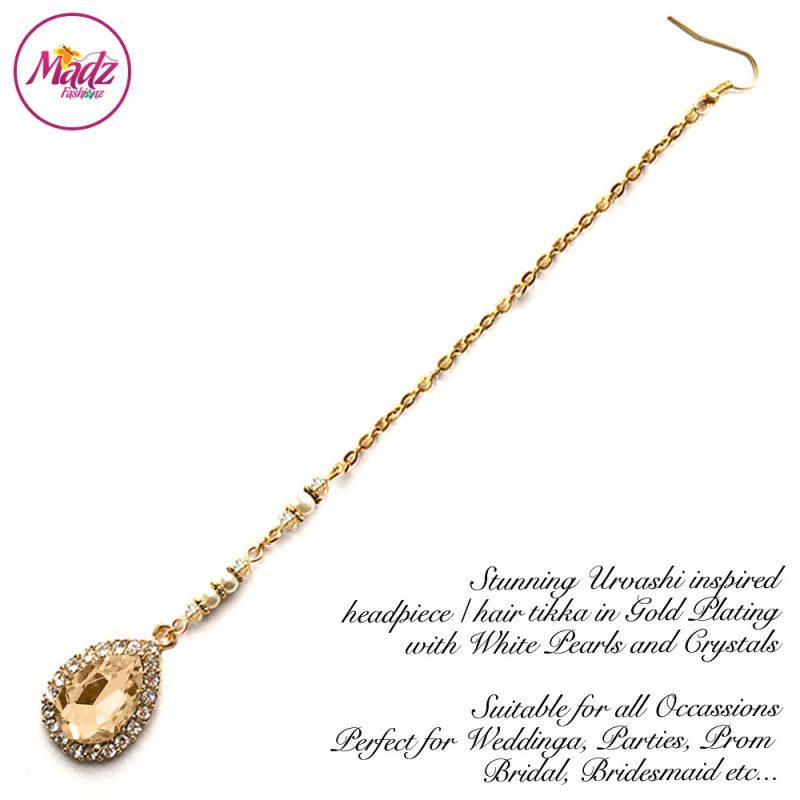 Madz Fashionz USA: Urvashi Rautela Kundan Crystal Stones Gold Maang Tikka Hair Tikka Gold Champagne