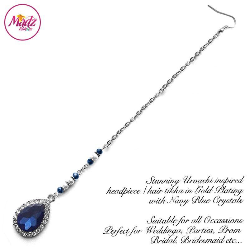 Madz Fashionz USA: Urvashi Rautela Kundan Crystal Stones Gold Maang Tikka Hair Tikka Silver Navy Blue