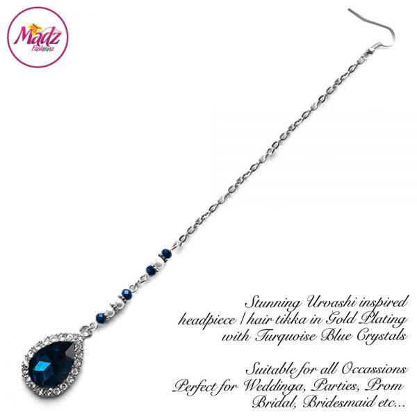 Madz Fashionz USA: Urvashi Rautela Kundan Crystal Stones Gold Maang Tikka Hair Tikka Silver Turquoise Blue