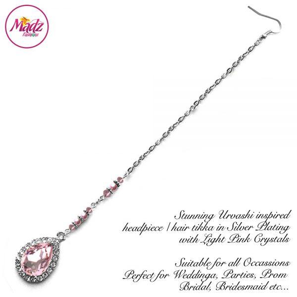 Madz Fashionz USA: Urvashi Rautela Kundan Crystal Stones Gold Maang Tikka Hair Tikka Silver Light Pink