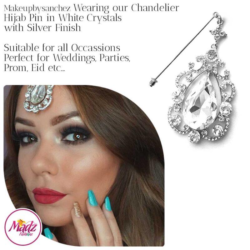 Madz Fashionz USA: Makeupbysanchez Chandelier Drop Hijab Pin Stick Pin Hijab Jewels Hijab Pins Silver White