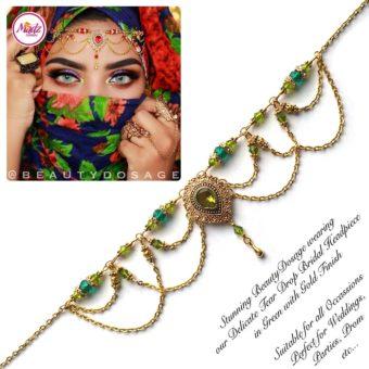 Madz Fashionz USA: Beautydosage Crystal Drop Titli Headpiece 3 Gold Mehndi Green