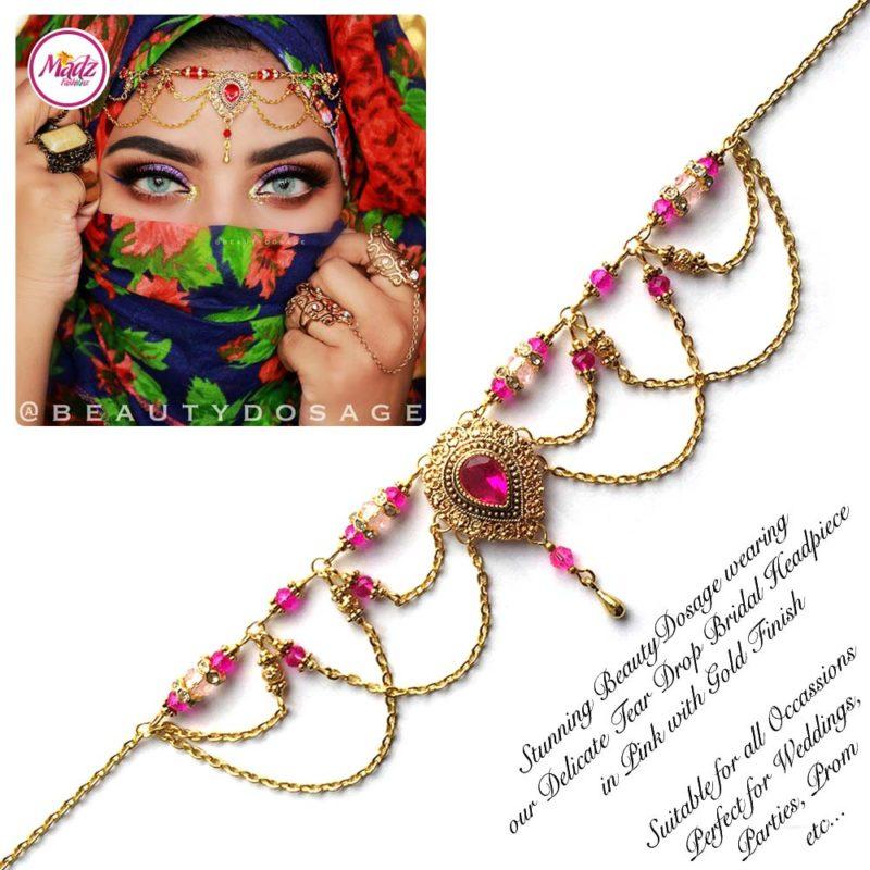 Madz Fashionz USA: Beautydosage Crystal Drop Titli Headpiece 3 Gold Shocking Pink Hot Pink