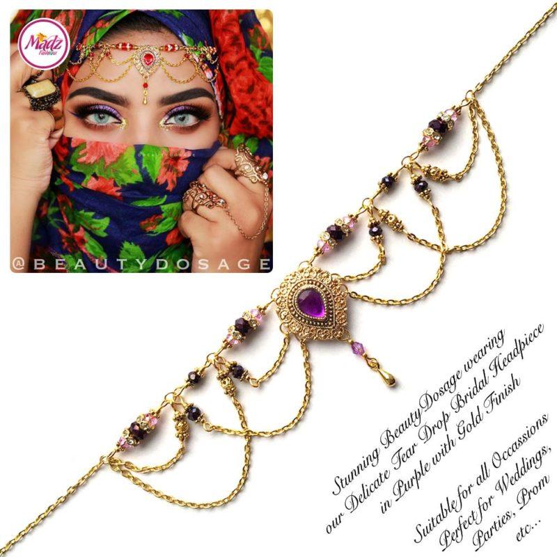 Madz Fashionz USA: Beautydosage Crystal Drop Titli Headpiece 3 Gold Purple