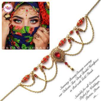 Madz Fashionz USA: Beautydosage Crystal Drop Titli Headpiece 3 Gold Red