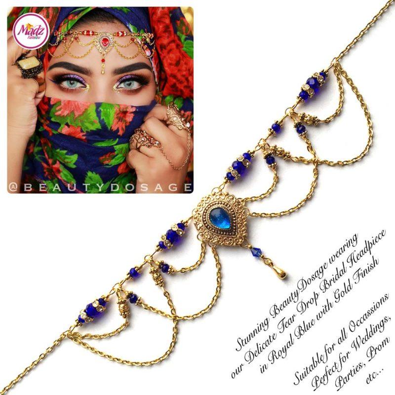 Madz Fashionz USA: Beautydosage Crystal Drop Titli Headpiece 3 Gold Royal Blue
