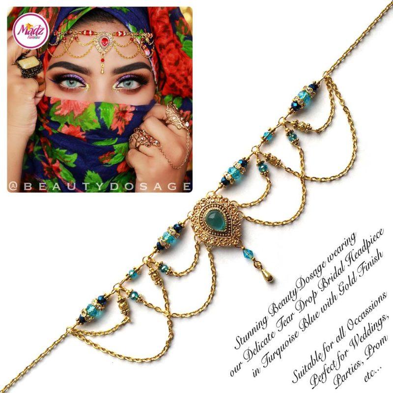 Madz Fashionz USA: Beautydosage Crystal Drop Titli Headpiece 3 Gold Sky Blue
