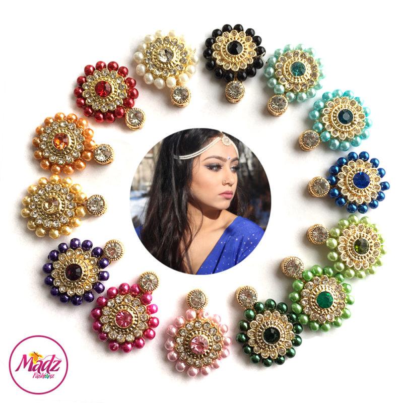 Madz Fashionz USA Sanya Ratanpal Kundan Headpiece Matha Patti Gold Pearled Black Blue Navy Green Mehndi Pink Purple Golden Orange Red White