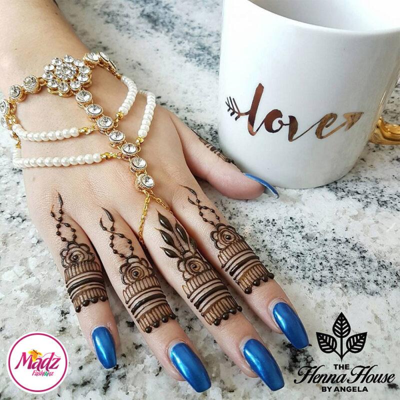 Madz Fashionz USA: Hennabyang Angela Traditional Kundan Pearled Hand chain Slave Bracelet Gold white bridal