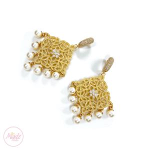 Hayat Zircon Earrings Bridal Stud Bali Pakistani Gold White Pearl | Madz Fashionz USA