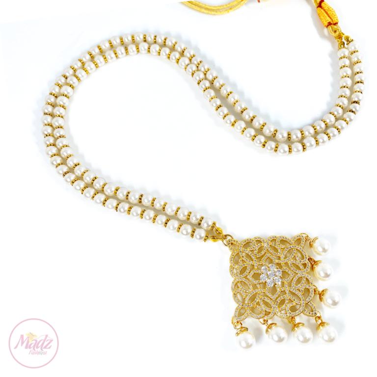 Madz Fashionz USA: Hayat Zircon Gold Pearl Long Bridal Necklace