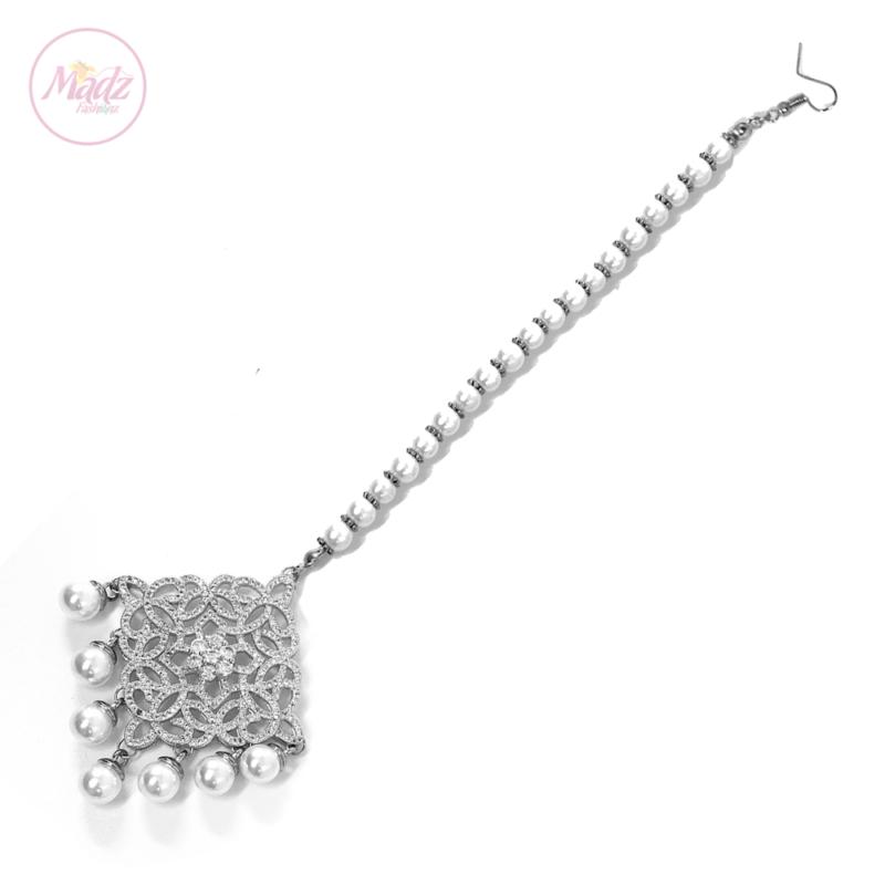 Madz Fashionz USA: Hayat Zircon Hair Headpiece Headchain Maang Tikka Silver