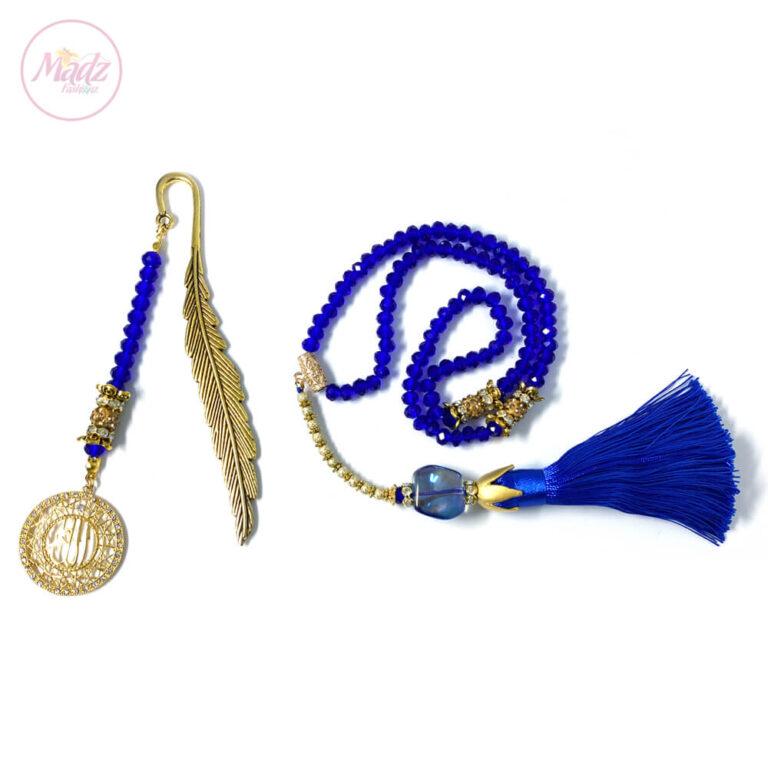 Sapphire Blue Tasbeeh 99 Beads & Quran Bookmark Islamic Gifts Set - MadZFashionZ USA