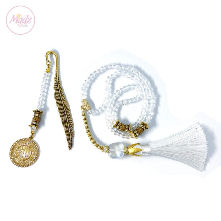 White Tasbeeh 99 Beads , Islamic Gifts Set - MadZFashionZ UK
