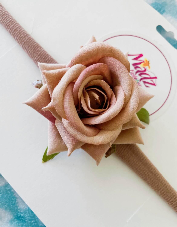 Rose flower headband , beige flower headband , stretch nylon band , girls hair accessory , little bridesmaids hair accessories