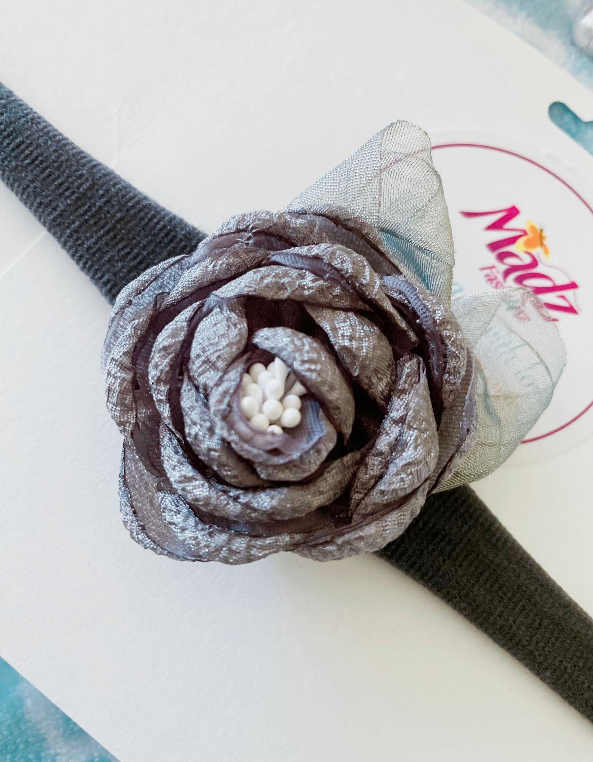 Silver grey headband , silk flower headband , stretch nylon band , girls hair accessory , little bridesmaids hair accessories