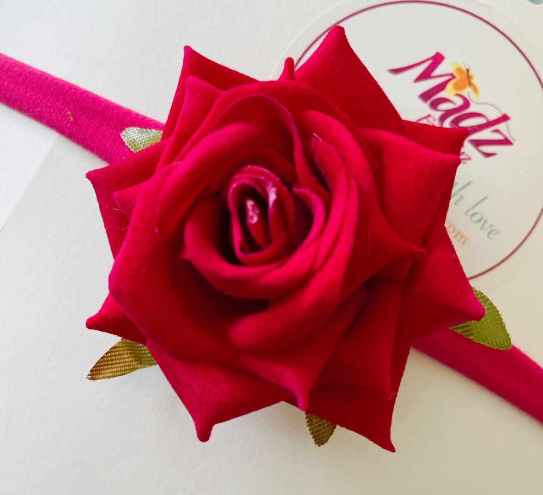Rose flower headband , hot pink flower headband , stretch nylon band , girls hair accessory , little bridesmaids hair accessories