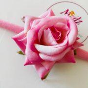 Rose flower headband , baby pink flower headband , stretch nylon band , girls hair accessory , little bridesmaids hair accessories