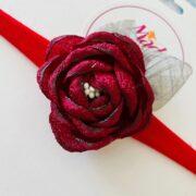 Maroon Red headband , silk flower headband , stretch nylon band , girls hair accessory , little bridesmaids hair accessories