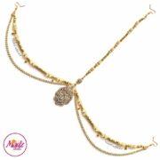 Gold Bridal Headpiece , White Forehead Jewelry , Ayesha , clear crystal headwear , indian bridal hair accessories , prom headpiece , matha patti