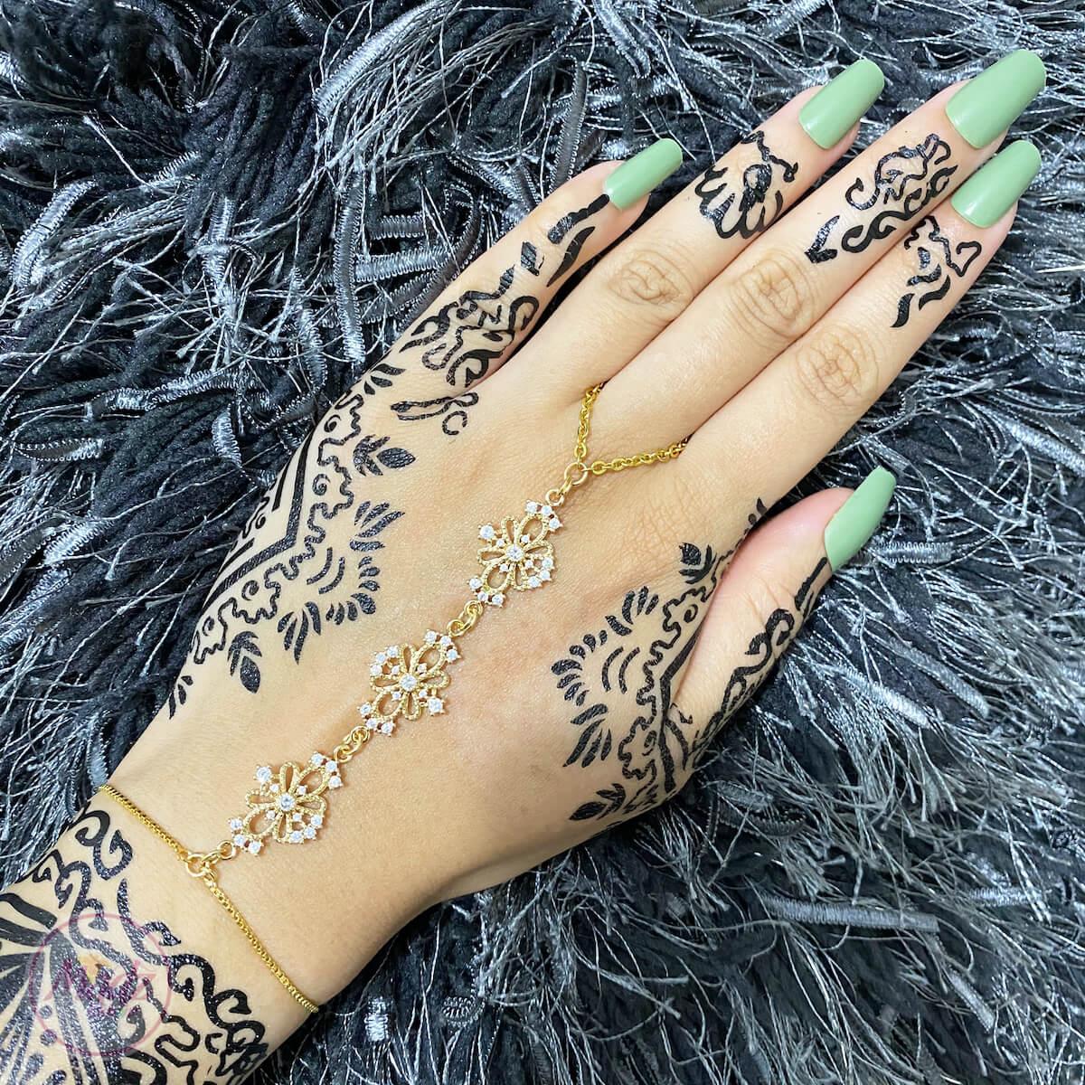 Gold White Hand Chain , Hand Ring Bracelet , Gold Crystal Chain Bracelet , Attach Ring Bracelet , Bridesmaid Gift , Hand Jewelry, Body Jewelry , Bridal hand piece , hand harness , Dainty Bracelet , Zircon Bracelet , Parisa Slave Bracelet