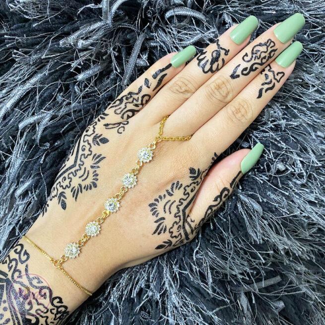 Gold White Hand Chain , Dainty Hand Jewelry , Finger Ring Bracelet , Ring Chain Bracelet , Hand Bracelet , Gold Bead Bracelet , Christmas Gift , Hand Ring Bracelet , Gold Crystal Chain Bracelet, Attach Ring Bracelet, Bridesmaid Gift , Freyal hand harness