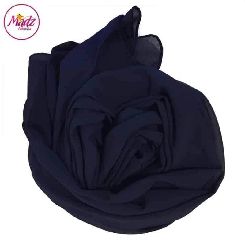 Long Plain Chiffon Navy Muslim Hijabs Scarves Shawls